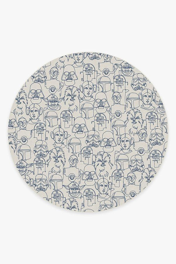 Washable Rug Cover | The Saga Delft Blue Rug | Stain-Resistant | Ruggable | 8' Round