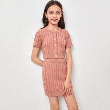 Girls Button Placket Cable Knit Top &  Split Hem Skirt Set