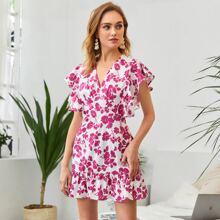Vestido ajustado bajo fruncido con estampado floral