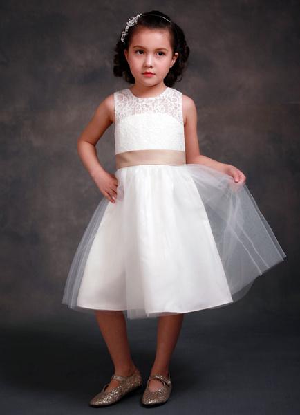 Milanoo Vestido Formal de arcos de niña de las flores vestido longitud de te Saten cinta sin mangas Sash niña