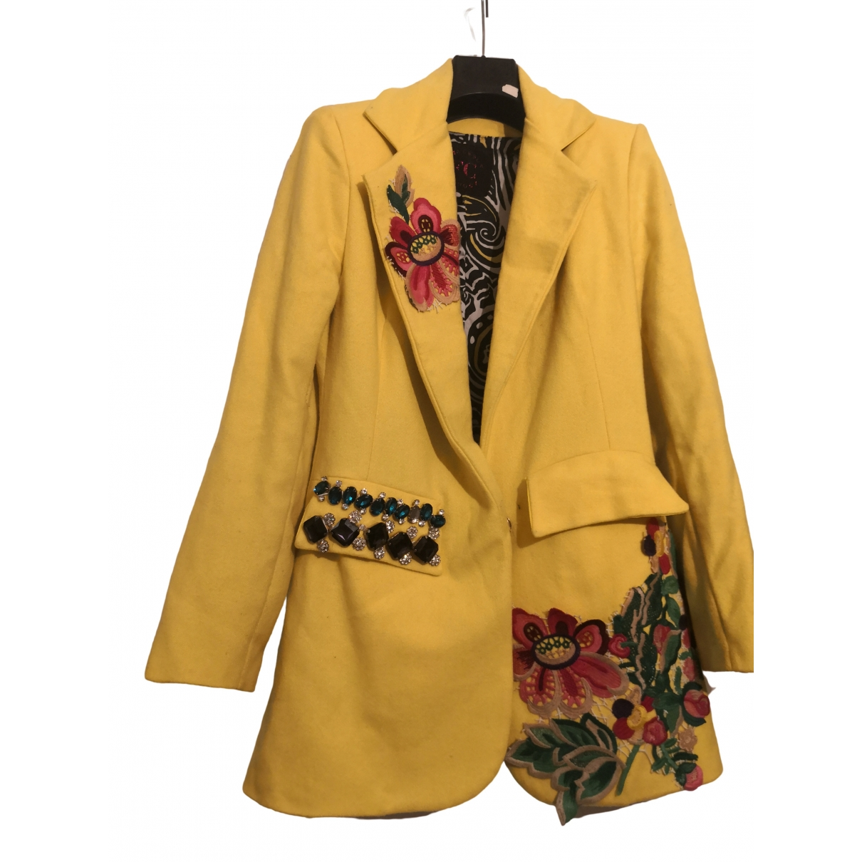 Non Signé / Unsigned Hippie Chic Yellow Wool jacket for Women S International