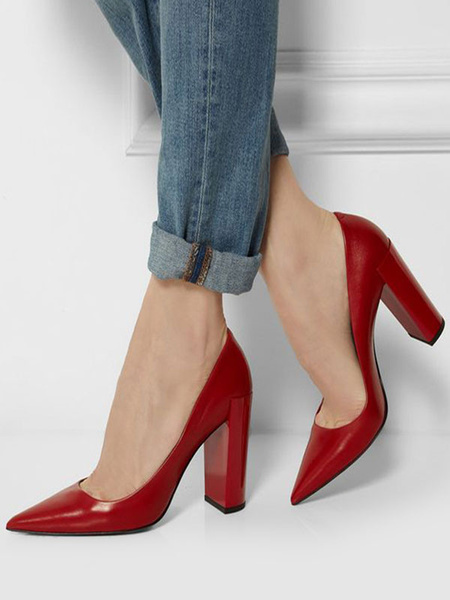 Milanoo Zapatos de salon basicos para mujer Zapatos de tacon alto con punta puntiaguda Zapatos de tacon grueso en rojo