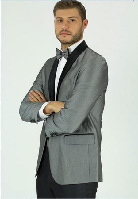 Men's Single Breasted Classic Fit Gray Shawl Lapel Side Vents Jacket