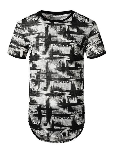 Milanoo T Shirts Jewel Neck Short Sleeves Print Tee Tops
