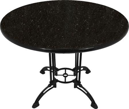 G206 36 RD-CA28-34D 36 Round Black Galaxy Granite Tabletop with 24 Ornate Matte Black Dining Height Table Base w/ Umbrella Hole