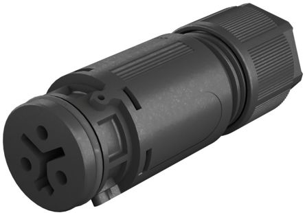 Wieland , RST 08i2/3 Female 3 Pole Circular Connector, Cable Mount, with Strain Relief, Rated At 8A, 250 V, 400 V, Black (5)