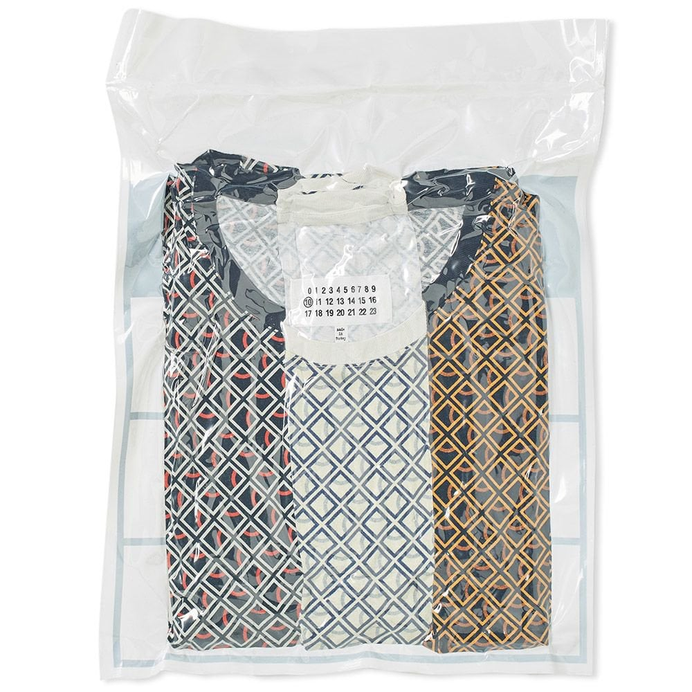 Maison Margiela 10 Basic T-Shirt 3 Pack Checkered Colour: MULTI COLOURED, Size: LARGE
