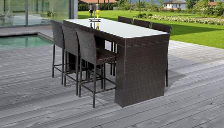 Belle Collection BELLE-BARTABLE-WITHBACK-6 Belle Bar Table Set With Barstools 7-Piece Patio Furniture with 1 Bar Table   6