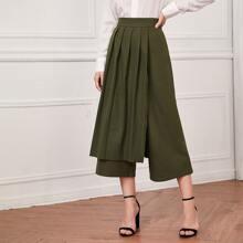Crop Hose mit Falten und breitem Beinschnitt