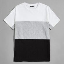 Figurbetontes T-Shirt mit Farbblock