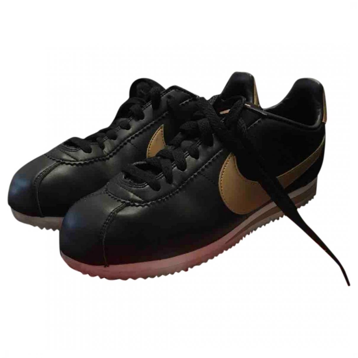 Nike - Baskets Cortez pour homme en cuir - noir