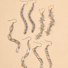 4pairs Chain Drop Earrings