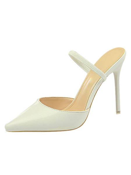 Milanoo High Heel Mules Women Shoes Pointed Toe Stiletto Heel Backless Pumps