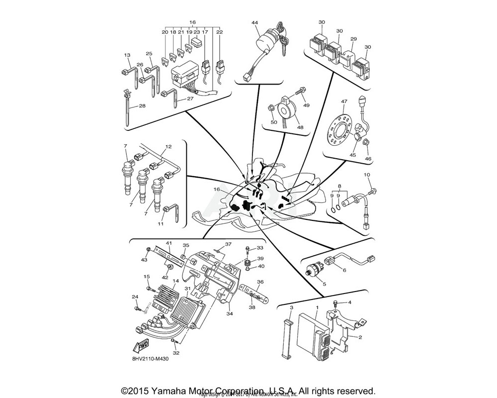 Yamaha OEM 8HV-82590-10-00 WIRE HARNESS ASSY