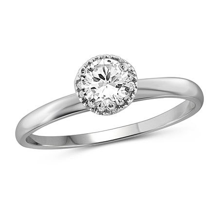 Womens 1 CT. T.W. White Cubic Zirconia Sterling Silver Promise Ring, 7 , No Color Family