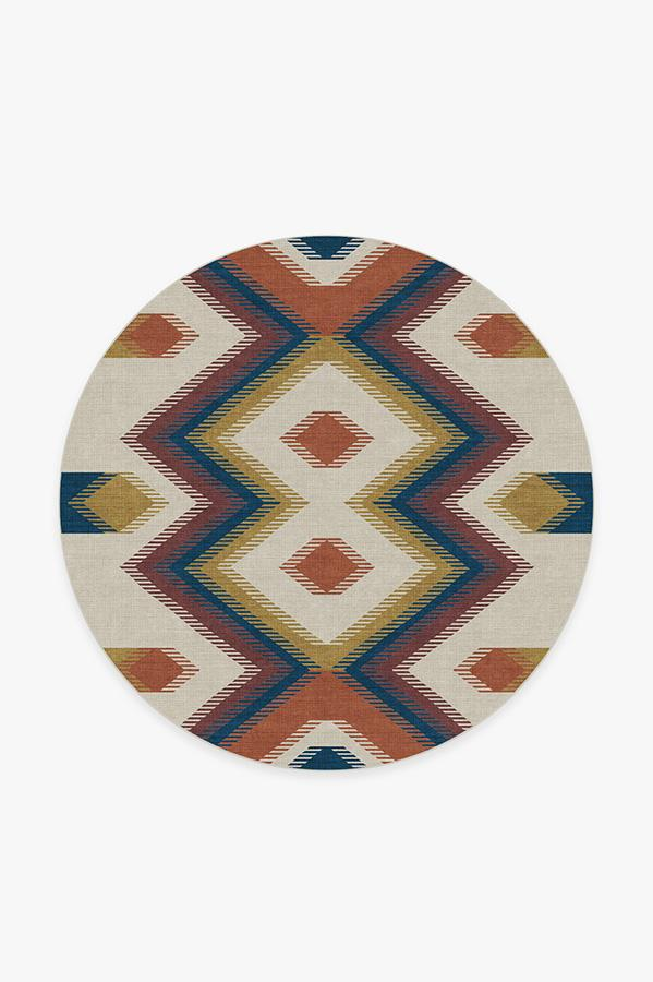Washable Rug Cover & Pad | Anza Polychrome Rug | Stain-Resistant | Ruggable | 6' Round