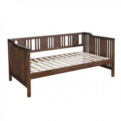 Petunia Collection CM1767 Twin Size Daybed with High Arms and Back  Slatted Wood Panels  Slat Kit Included and Solid Wood Construction in Dark Walnut
