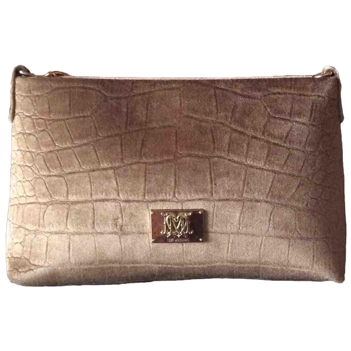 Moschino Love - Pochette   pour femme en velours - beige