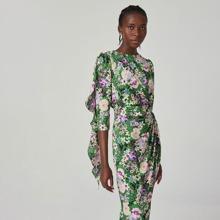 Kleid mit Schlitz hinten, Rueschen, asymmetrischem Saum und Blumen Muster