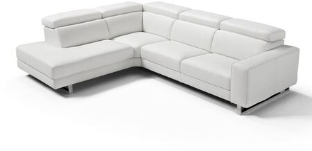 Augusto Collection SL1421LS-WHT 117 Sectional Sofa with Left Facing Chaise  Adjustable Headrests  Made in Italy  Thick Track Arms  Polished