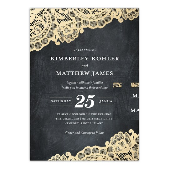 20 Pack of Gartner Studios® Personalized Lace Flourish Flat Wedding Invitation in Charcoal | 5