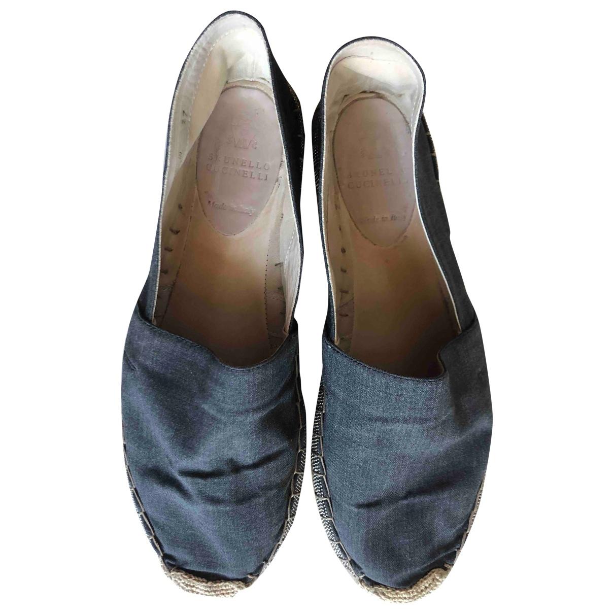 Brunello Cucinelli \N Anthracite Cloth Espadrilles for Women 37 IT