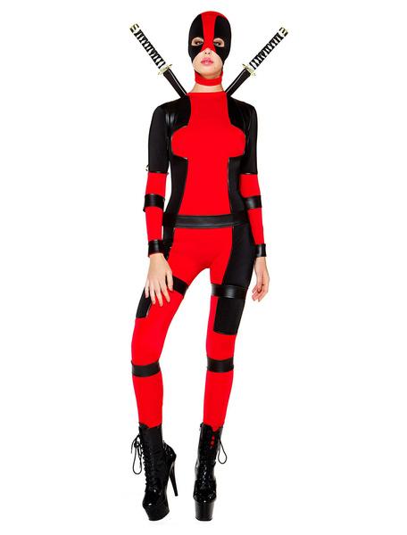Milanoo Marvel Comics Halloween Deadpool Costume Cosplay Spandex Suit Lycra Zentai Suit Super Heroine Outfit Halloween