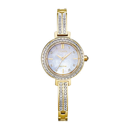 Citizen Eco-Drive Womens Crystal Accent Gold Tone Stainless Steel Bracelet Watch-Em0862-56d, One Size , No Color Family
