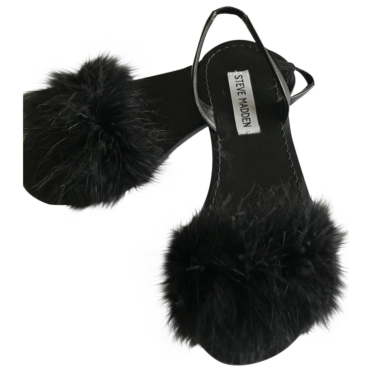 Steve Madden \N Black Fur Sandals for Women 37 EU