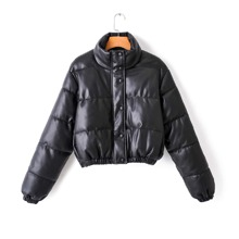 Zip Up Crop PU Leather Puffer Jacket