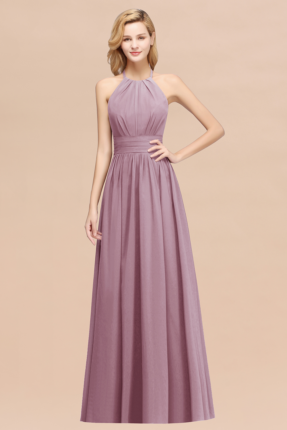 BMbridal Elegant High-Neck Halter Long Affordable Bridesmaid Dresses with Ruffles