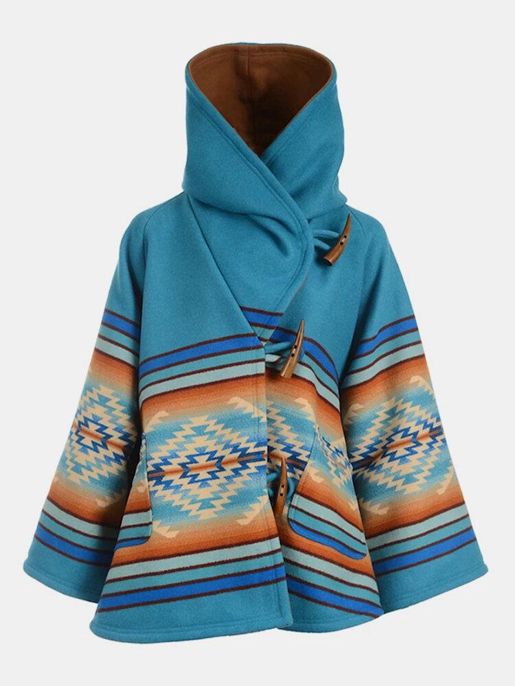 Vintage Geometric Print Hooded Long Sleeve Coat For Women