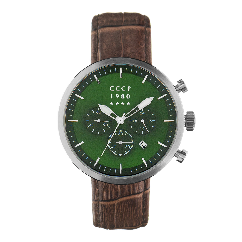 Cccp Mens Kashalot Dress CP-7007-09 Silver Leather Japanese Quartz Watch
