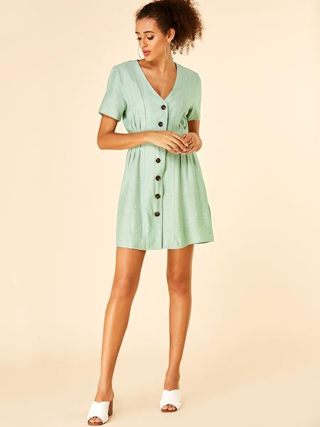 YOINS Green Button Design V-neck Short Sleeves Dress