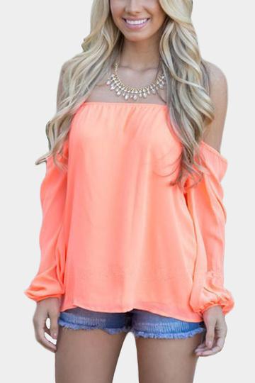 Yoins Orange Off-the-shoulder Long Sleeves Chiffon Blouse