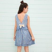 Girls Bow Back Ruffle Trim Lace Dress