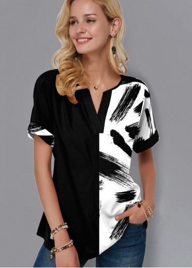 Split Neck Short Sleeve Printed Blouse - XL