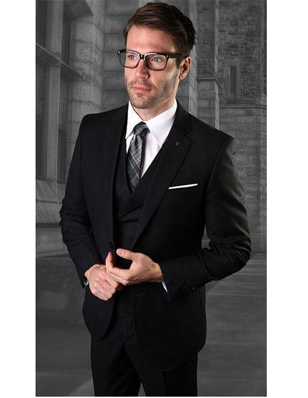 Mens One Button Single Breasted Notch Lapel Black Suit