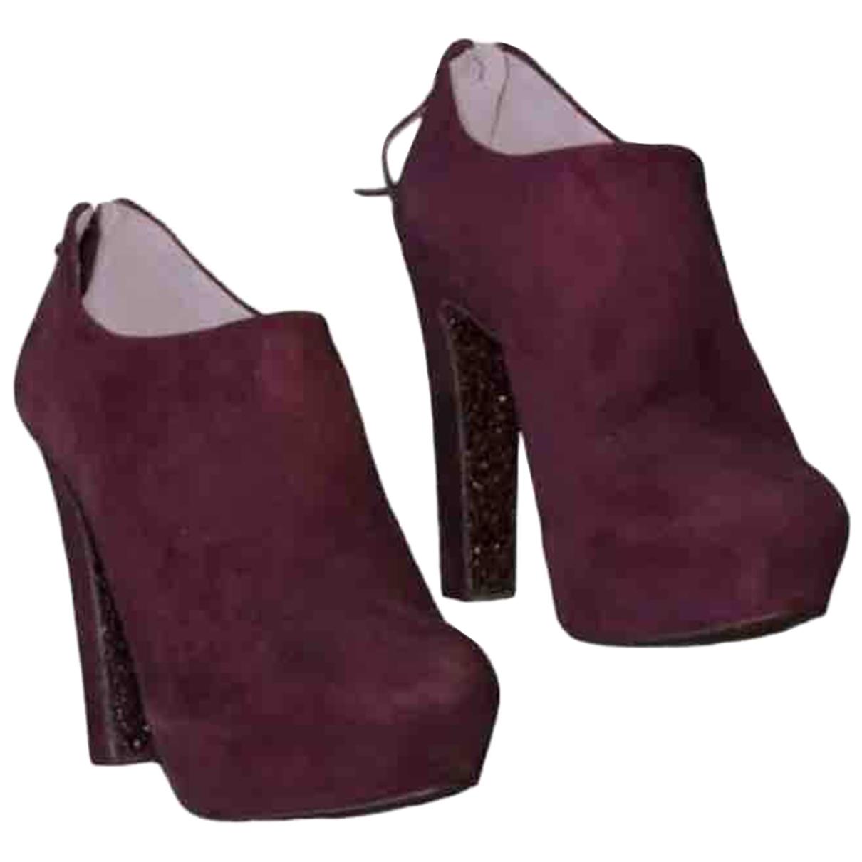 Miu Miu \N Stiefel in  Bordeauxrot Veloursleder