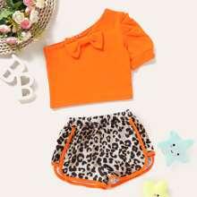 Toddler Girls Neon Orange One Shoulder Top & Leopard Shorts