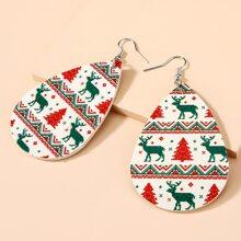 Christmas Deer Water Drop Shaped Drop Earrings