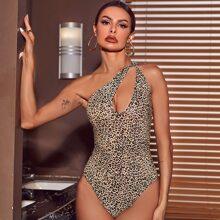 Body mit einer Schulter, Ausschnitt und Leopard Muster
