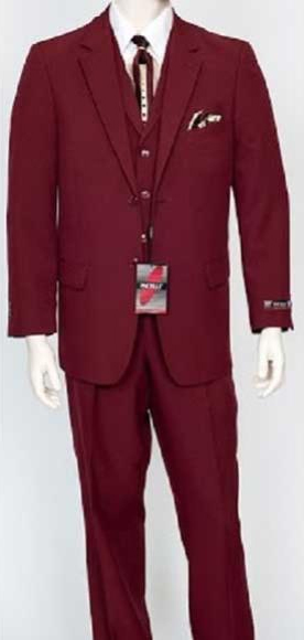 Men's Fit Single Breasted Burgundy 3 Piece Notch Lapel Dress Suit