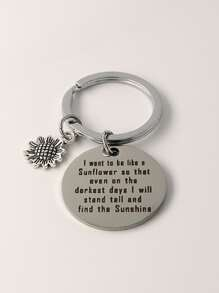 Slogan Decor Flower Charm Keychain
