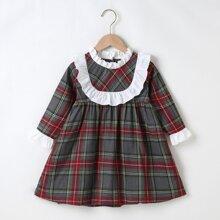 Vestidos para niña pequeña Boton Tartan Preppy