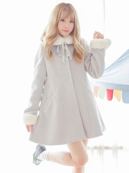 Milanoo Sweet Lolita Coat Furry Collar Pom Pom Grey Wool Lolita Overcoat