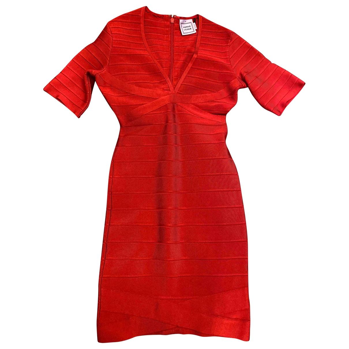 Herve Leger - Robe   pour femme en laine - rouge
