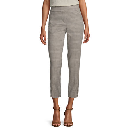 Worthington Womens Slim Fit Ankle Pant, Medium , Black