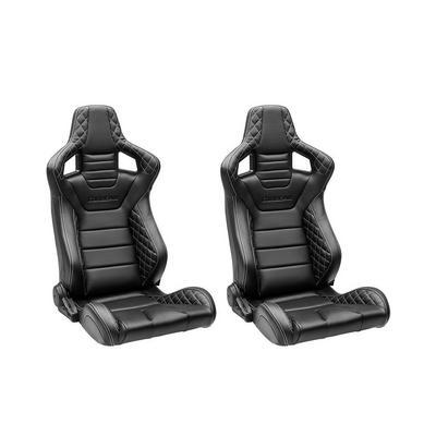 Corbeau Sportline RRS Reclining Seats - Pair (Black/White Vinyl) - 74901DSWPR