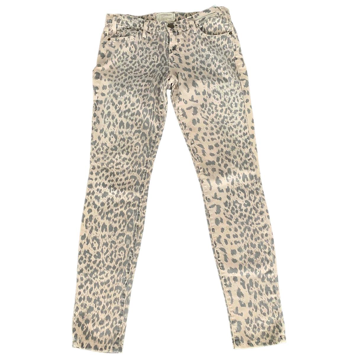 Current Elliott \N Beige Cotton - elasthane Jeans for Women 27 US